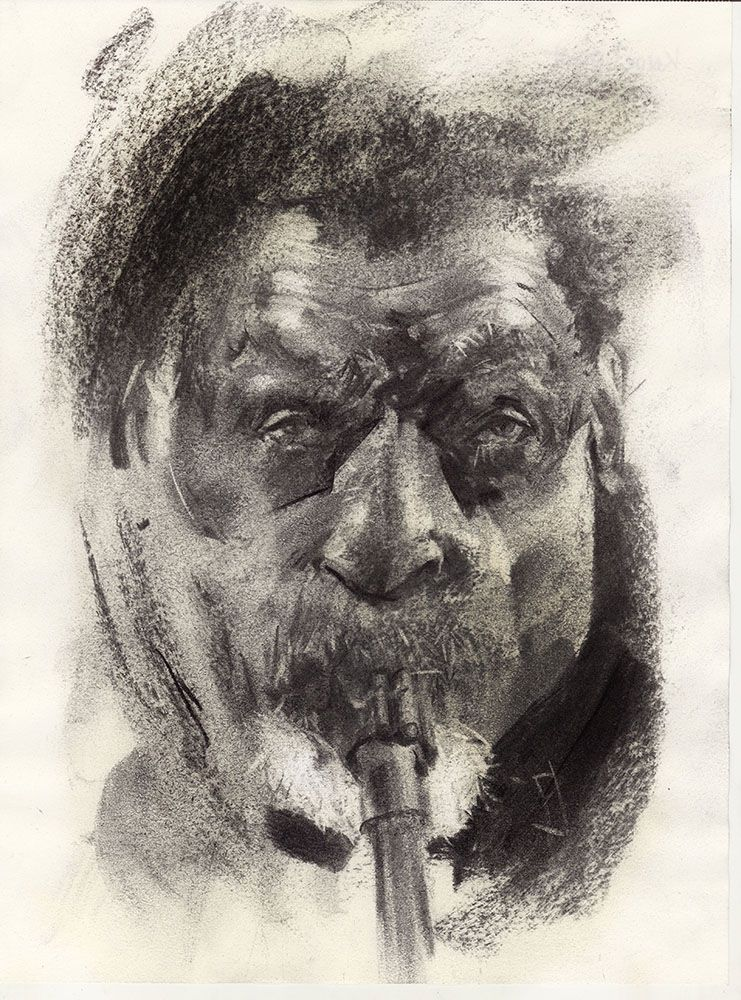portrait,, sketch, musician, jazz - jehanno   ello