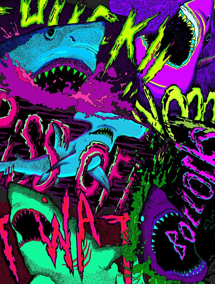 sharks talk - bite, teeth, illustration - polkip | ello
