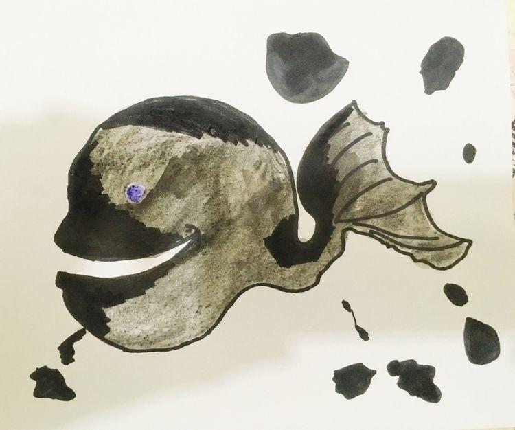 inktoberday12whale, illustration - parcellesdemommiee | ello