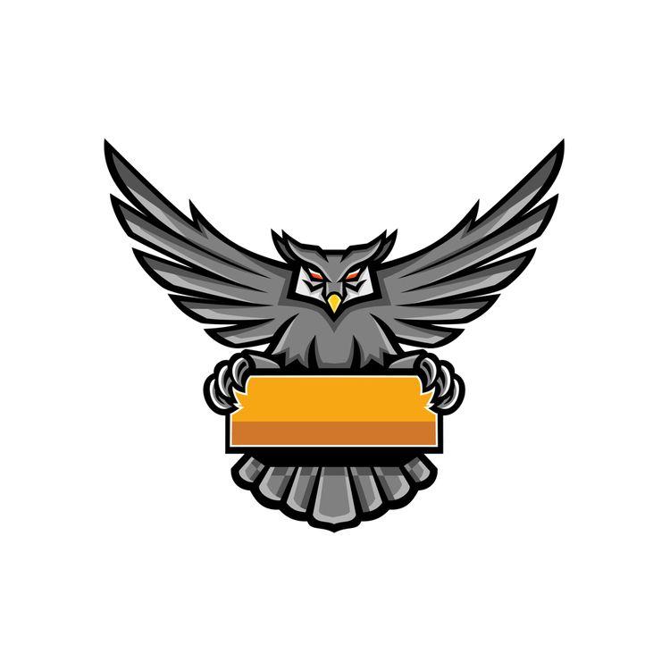 Owl Holding Banner Mascot - HoldingBanner - patrimonio | ello