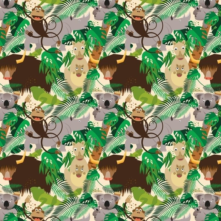 Fabric Pattern Jungle Animals - spoonflower - piakolle | ello