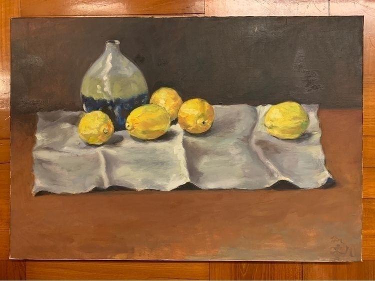 007.bottle lemons . /Oil Painti - awsgallary   ello