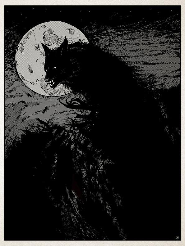 Werewolf - illustration, drawing - shugmonkey | ello