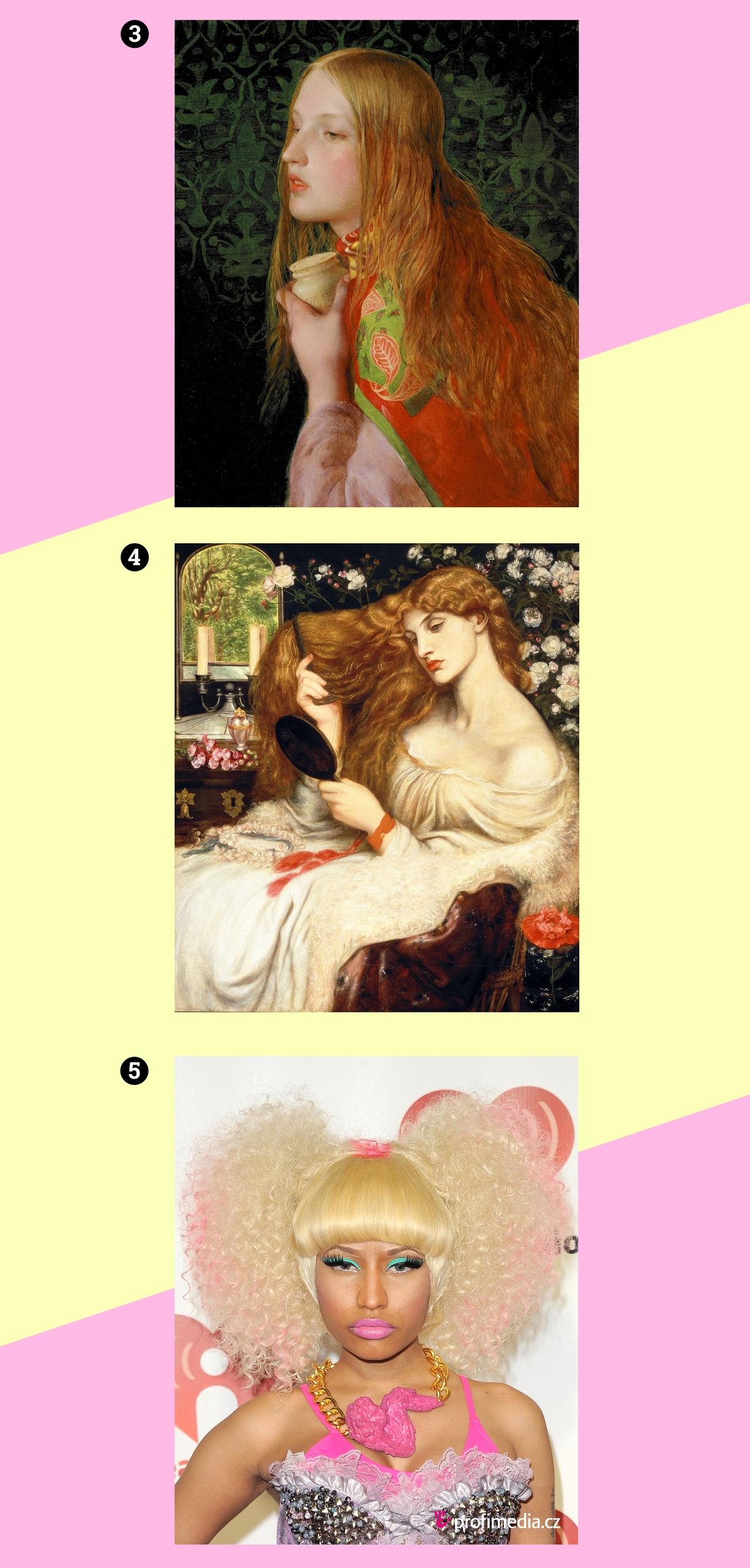 Obraz przedstawia trzy fotografie postaci kobiecych na różowo-żółtym tle.