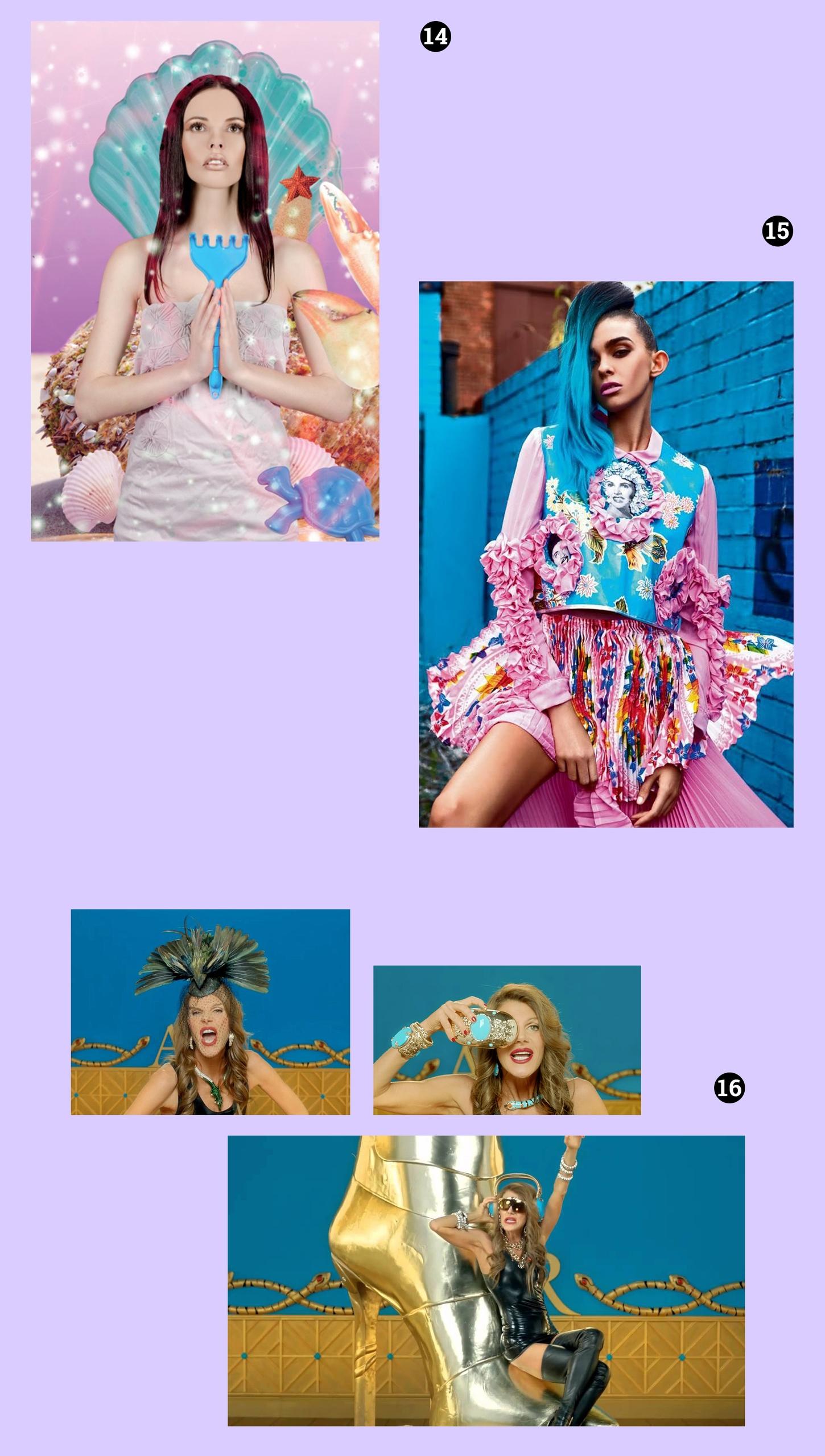 Obraz przedstawia pięć zdjęć na fioletowym tle. Widzimy postaci kobiece.
