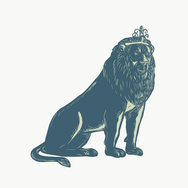 Lion Wearing Tiara Sitting Scra - patrimonio | ello
