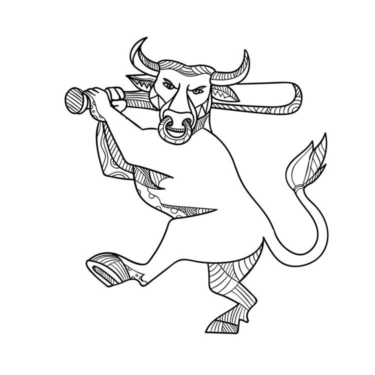 Bull Baseball Bat Mono Line - MonoLine - patrimonio | ello