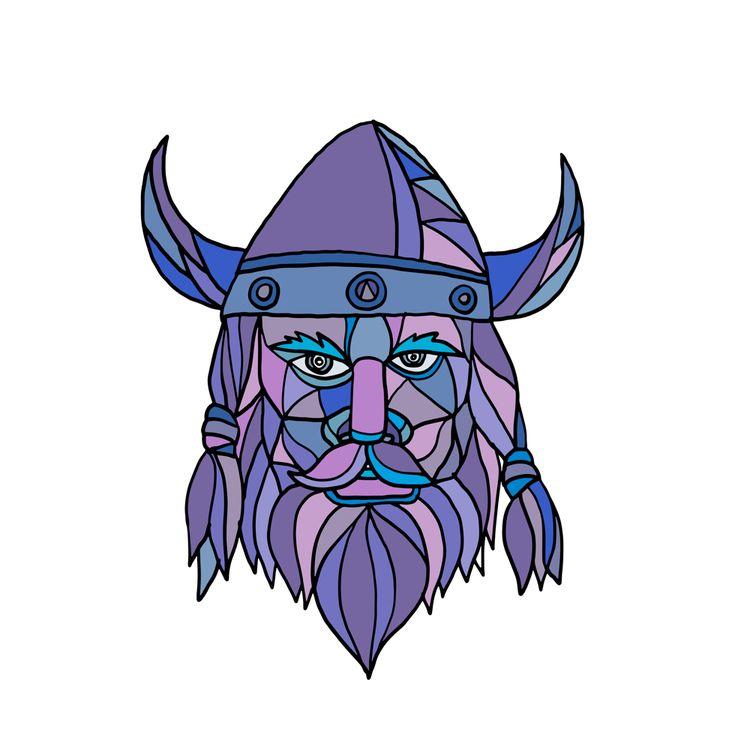 Viking Head Mascot Mosaic - VikingHead - patrimonio | ello