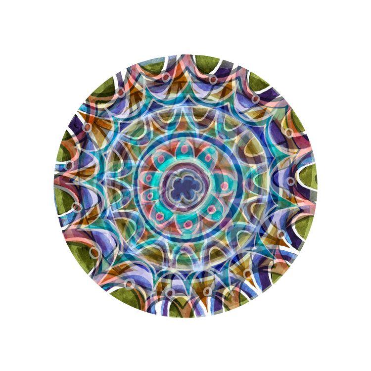 Free Hand Mandala warm light bl - istvanocztos | ello