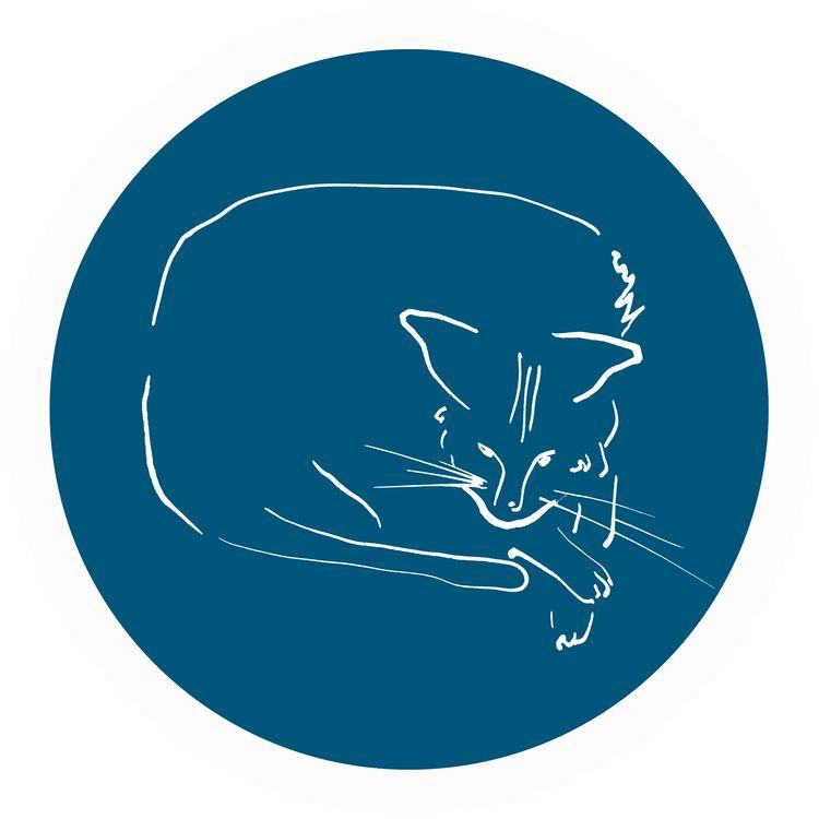 Relaxing Cat blue circle Digita - istvanocztos | ello