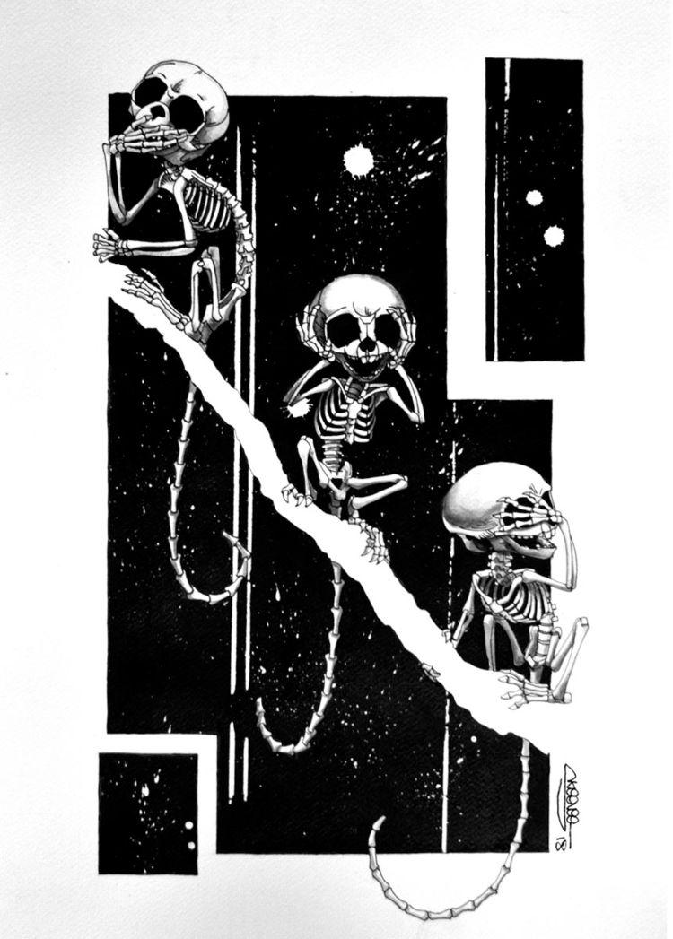 3 Wise Marmoset Skeletons, Skee - skeenee | ello