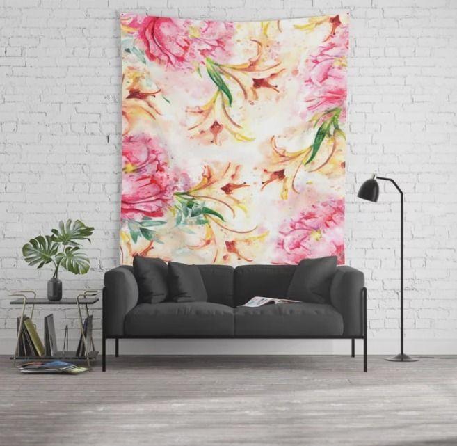 Peony Floral Wall Tapestry crea - creativeaxle | ello