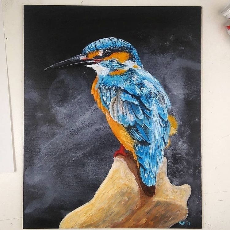 Kingfisher 8x10 acrylic artboar - roberthinojosa | ello