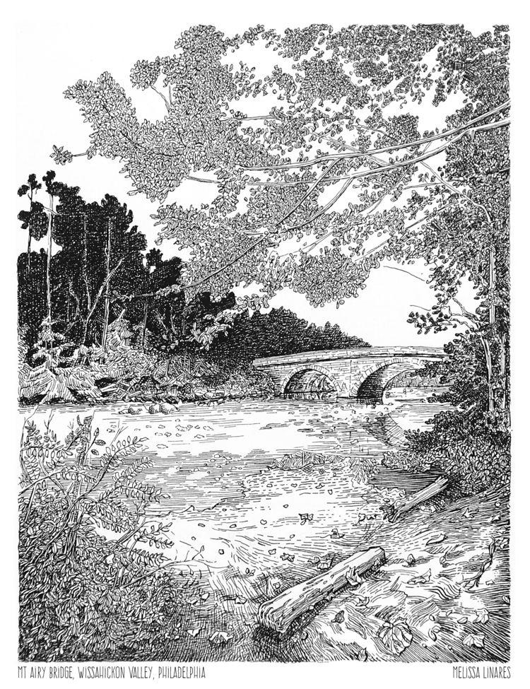 Drawing Mt Airy Bridge Philadel - sketchymel | ello