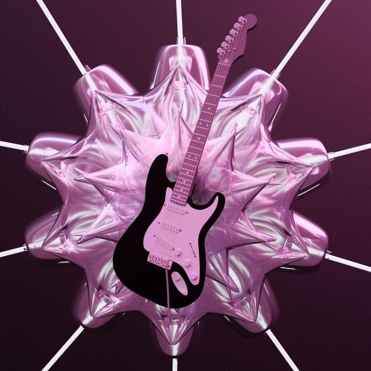 c4d, render, 3d, guitar, cinema4d - artwavves | ello