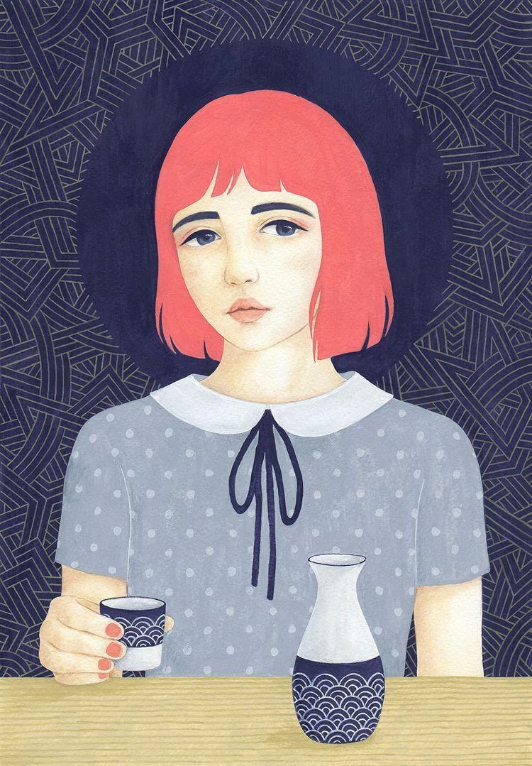 Drinking - Illustration, painting - sashafishkin | ello