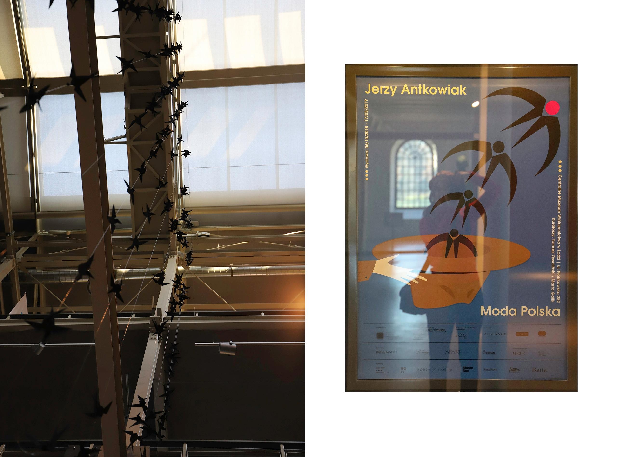 Obraz przedstawia dwa zdjęcia. Na jednym z nich widzimy pomieszczenie, a na drugim plakat reklamowy.