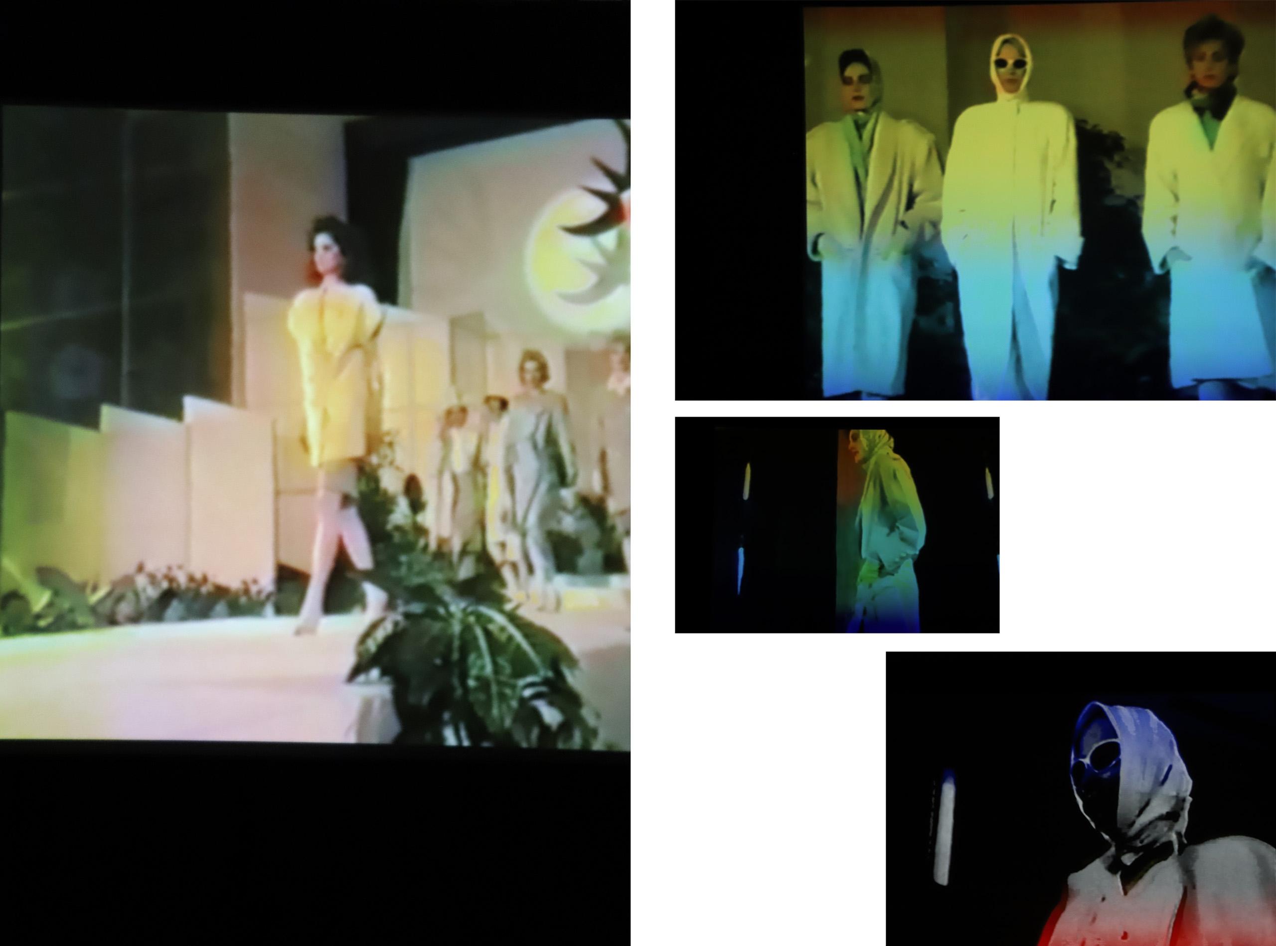 Obraz przedstawia cztery niewyraźne zdjęcia postaci na ciemnym tle.