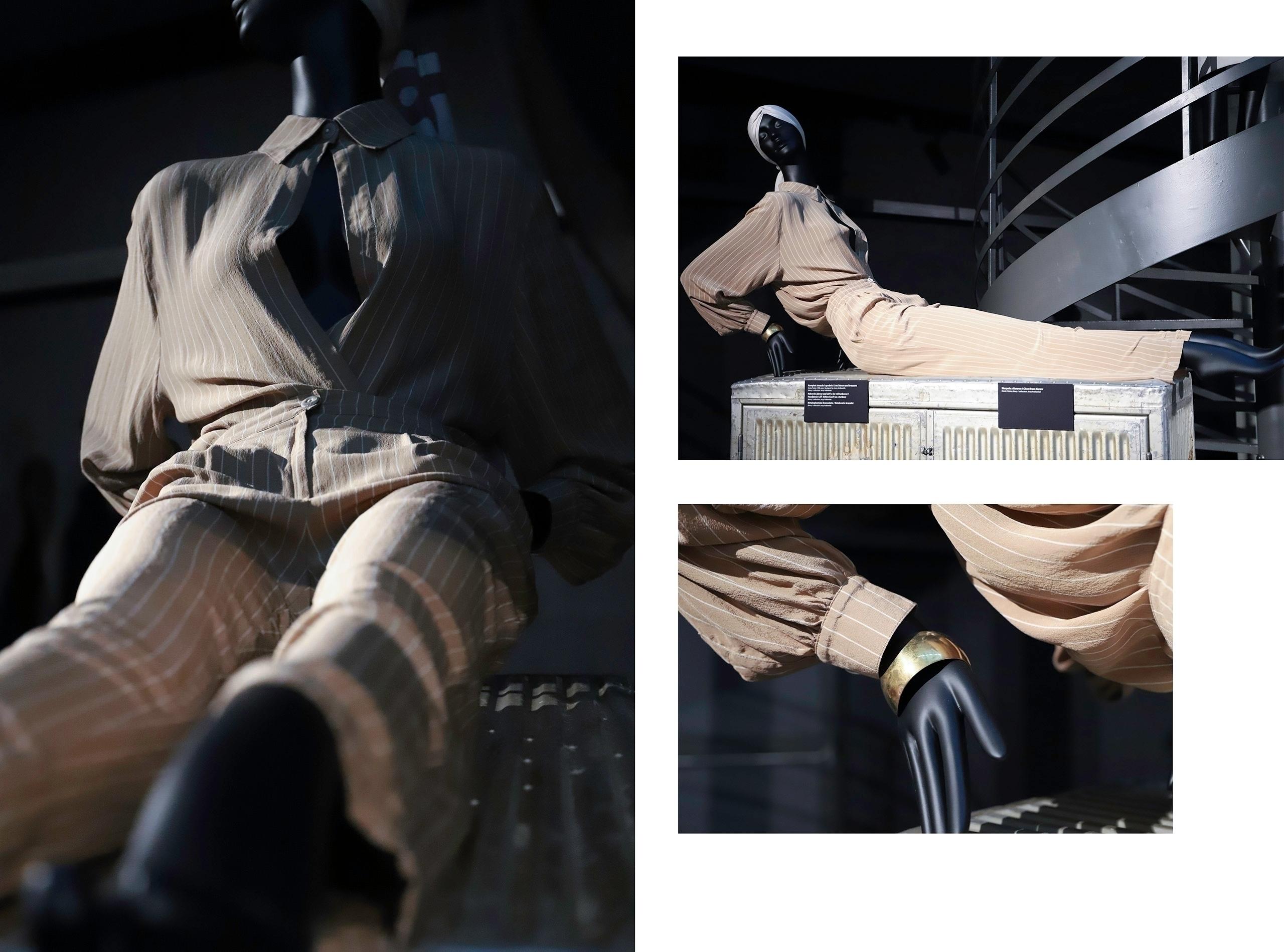 Obraz przedstawia trzy zdjęcia czarnego manekina ubranego w beżowy kombinezon.