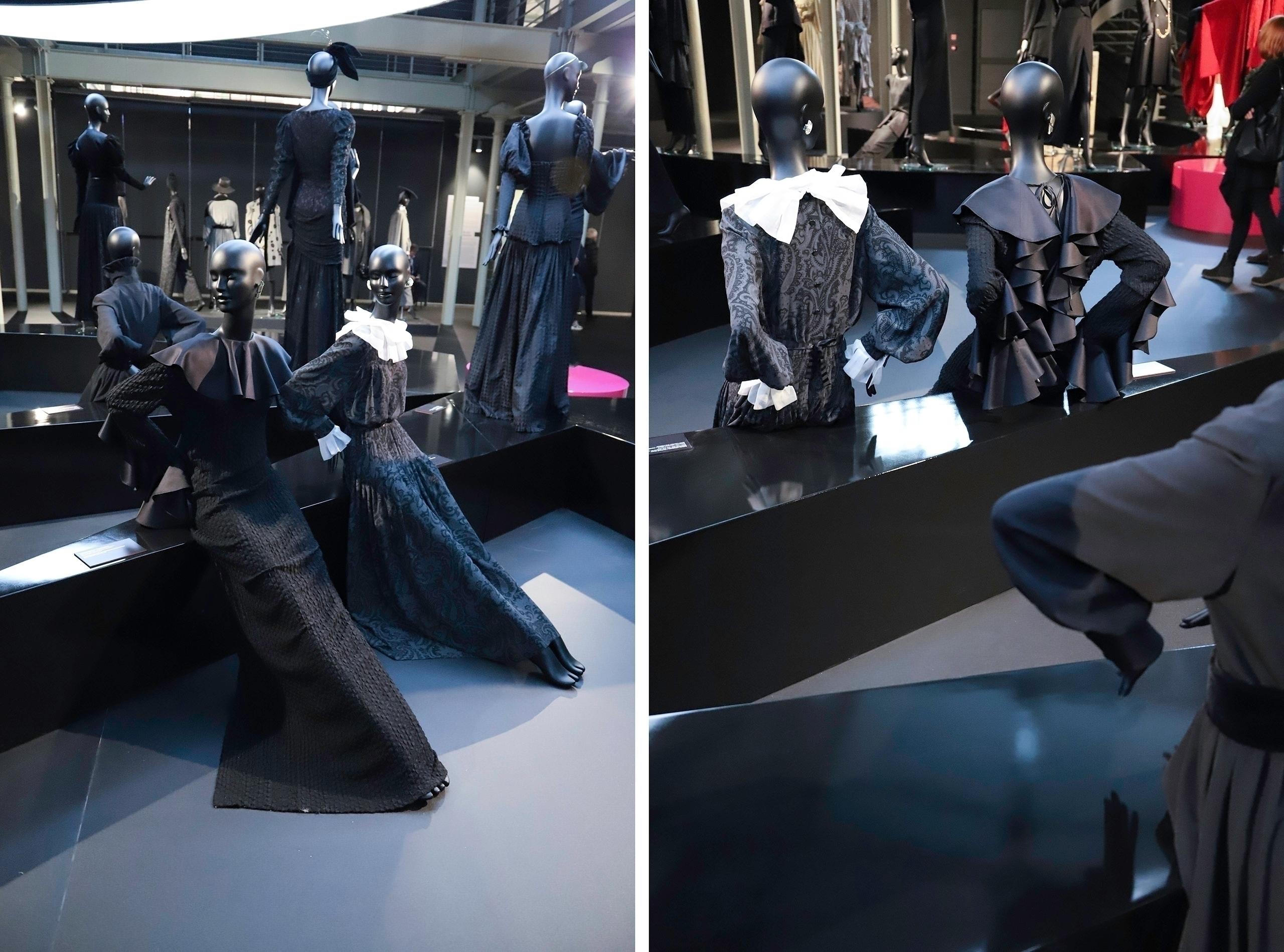 Obraz przedstawia dwa zdjęcia manekinów w różnych pozycjach. Manekiny mają na sobie ciemne ubrania.