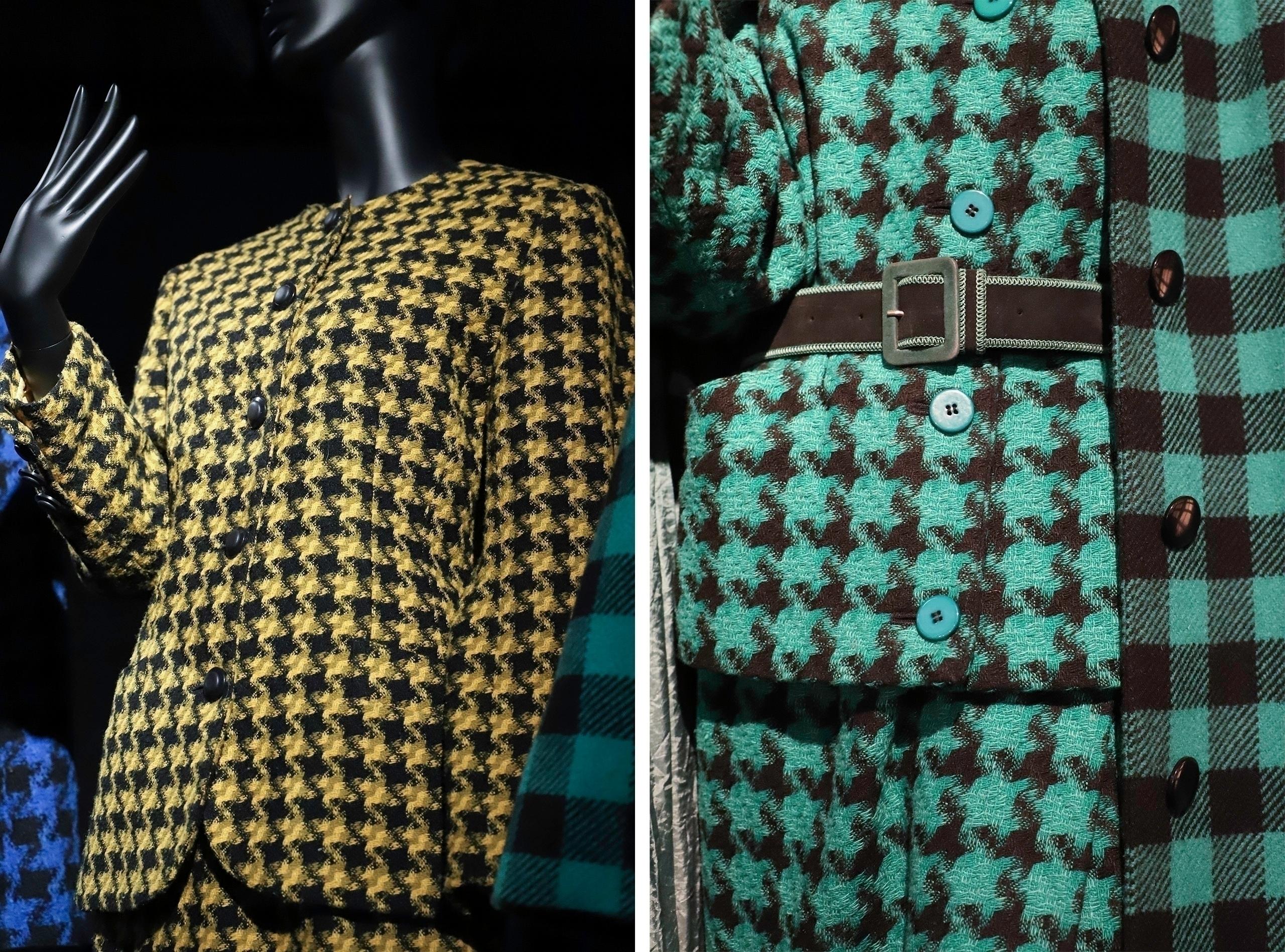 Obraz przedstawia dwa zdjęcia, które są fragmentami zielonego i żółtego kostiumu.