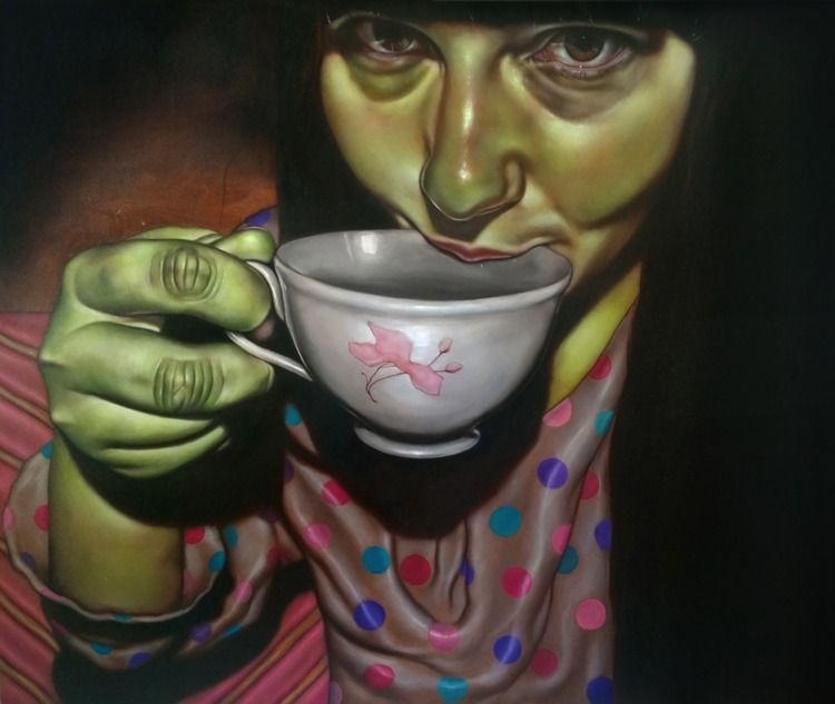 Tea - 2017 Oil panel - yasmineweiss | ello