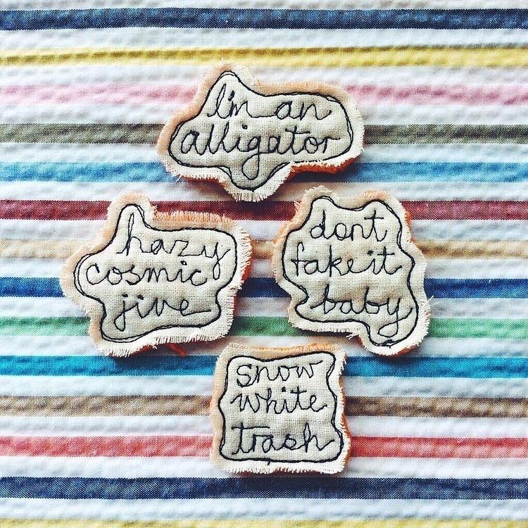 orders custom sewn word brooche - alittlevintagedoll | ello