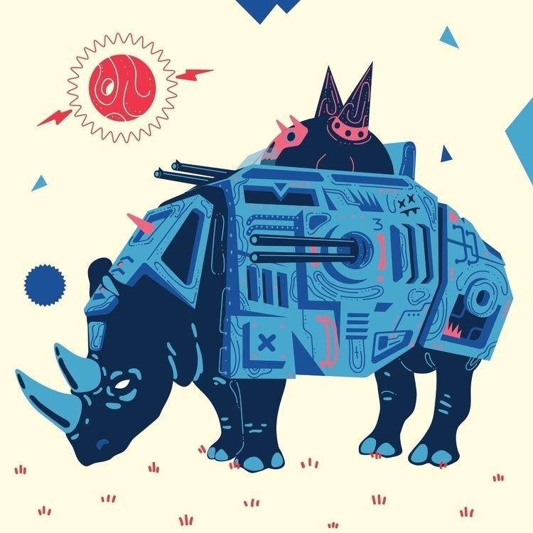 warmachines, rhino, machine, illustration - galekto | ello