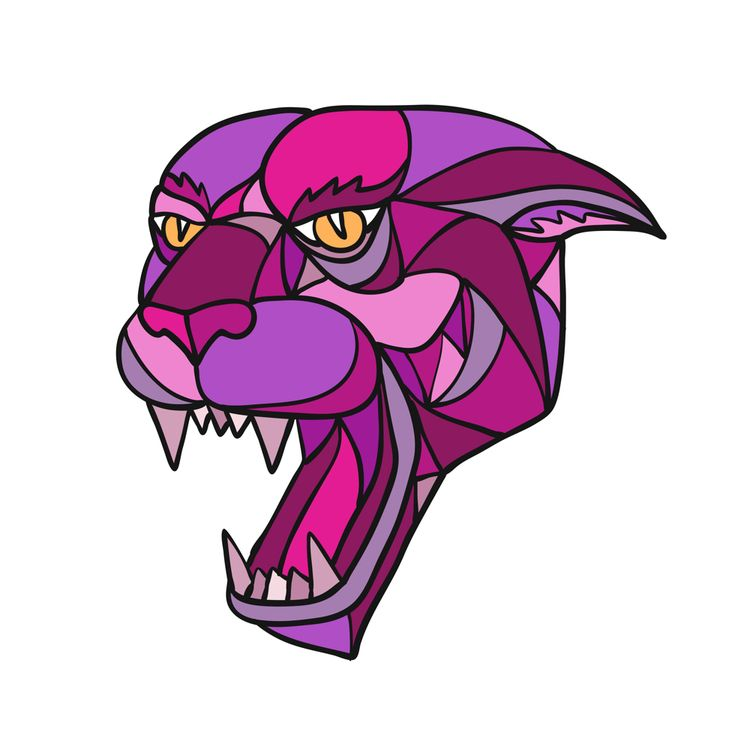 Jaguar Angry Head Mosaic Color - patrimonio   ello