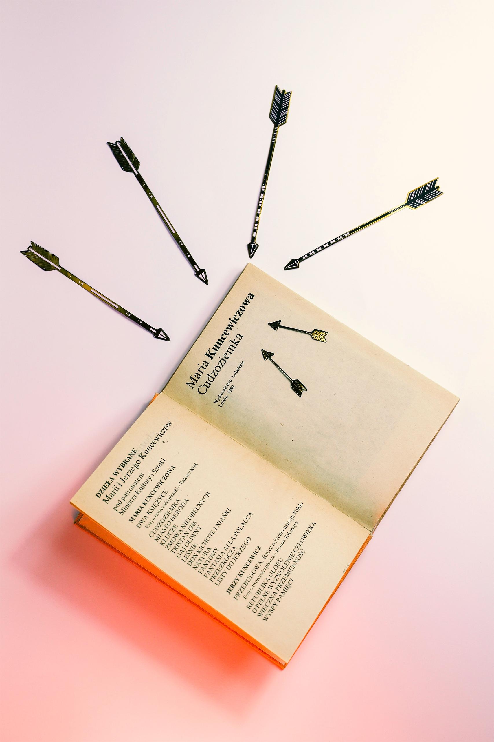 Obraz przedstawia otwartą książkę na jasnym tle.