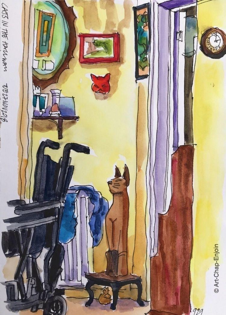 929 - Cats hallway doodle subje - artchapenjoin | ello