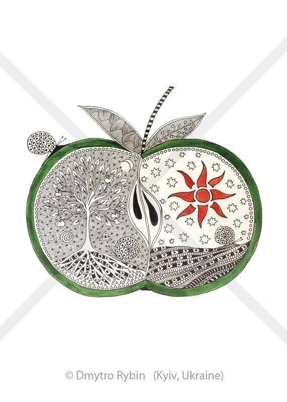 Mystical apple - night, day, dualism - dmytroua   ello