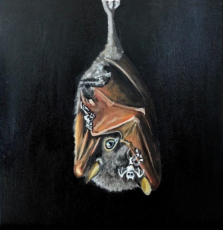 Night!' 30cm oils canvas - bat, bats - guyusinu | ello