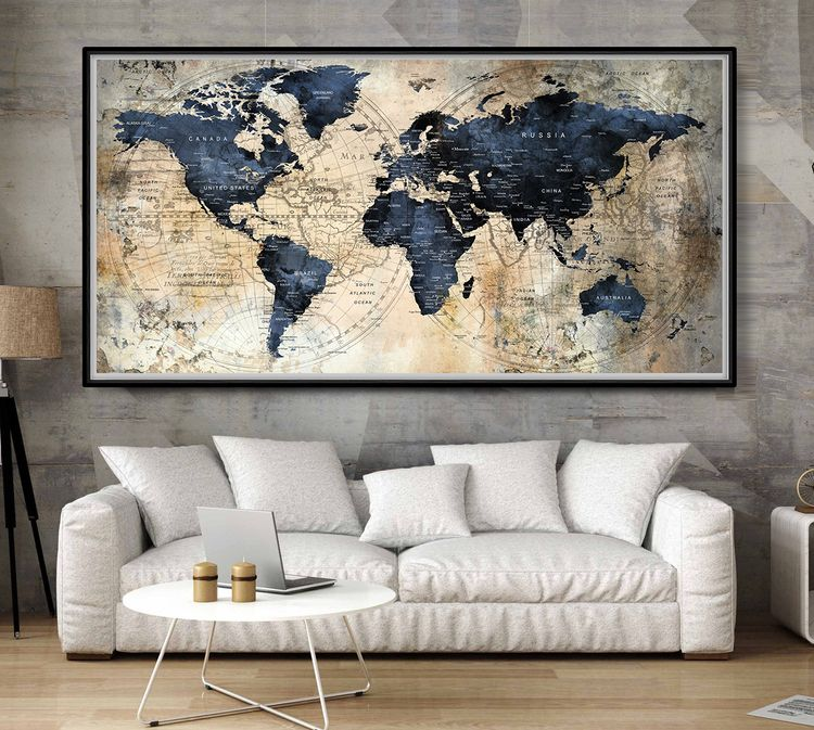 Large World Map Poster,Push Pin - fineartcenter | ello