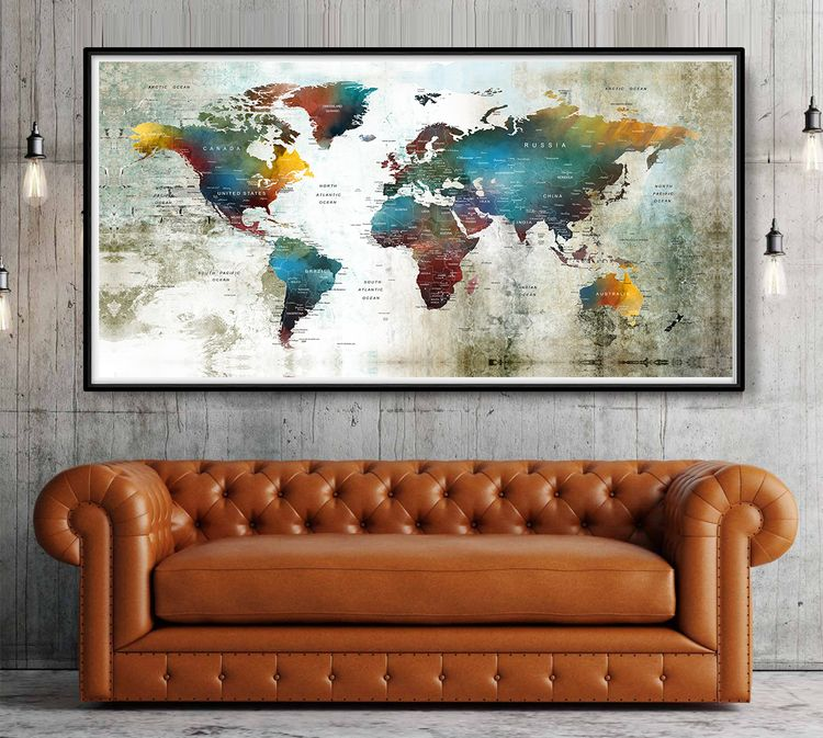 Large World Map Poster Print,Wo - fineartcenter | ello