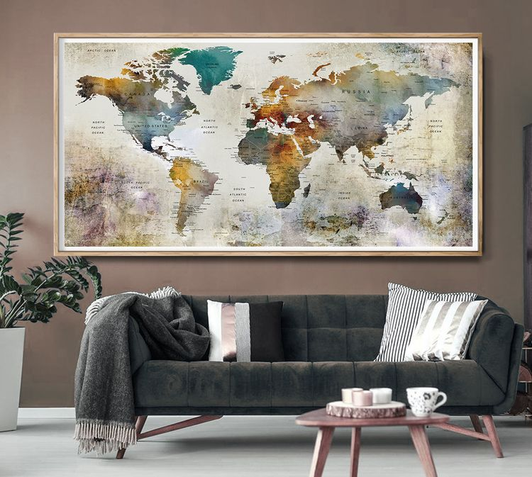 Large watercolor world map prin - fineartcenter | ello