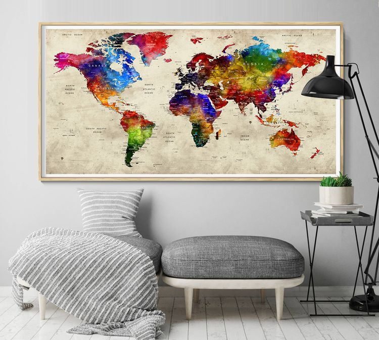 GIFT! Push Pin World Map, Trave - fineartcenter | ello