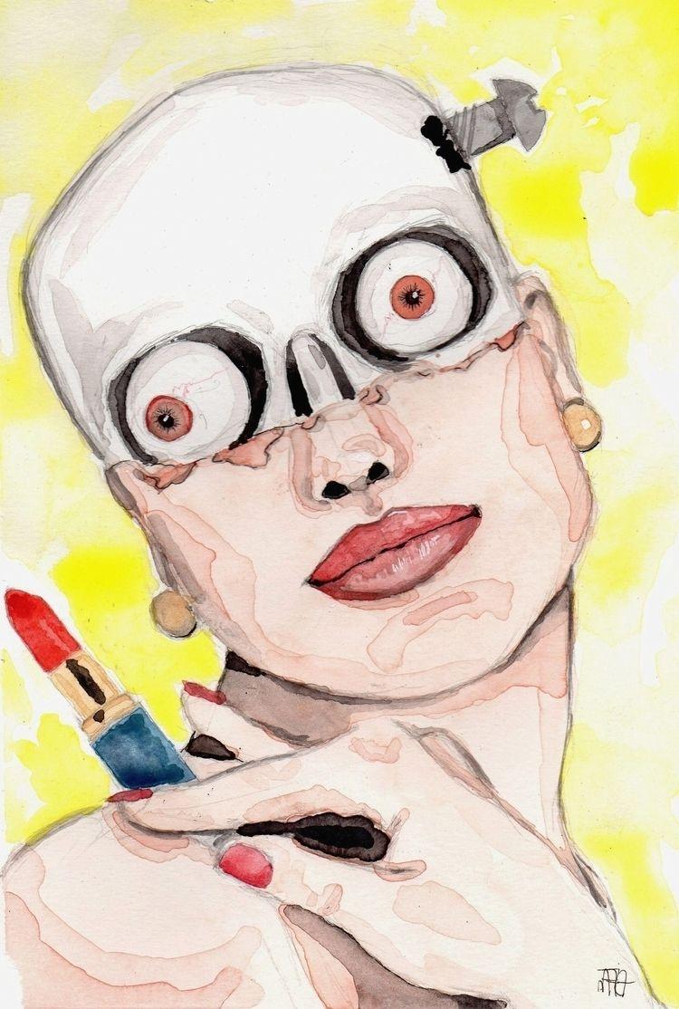 watercolor, illustration, skull - nataliadamiao | ello