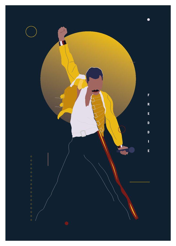 Freddie Mercury poster - illustration - ewelinagaska | ello