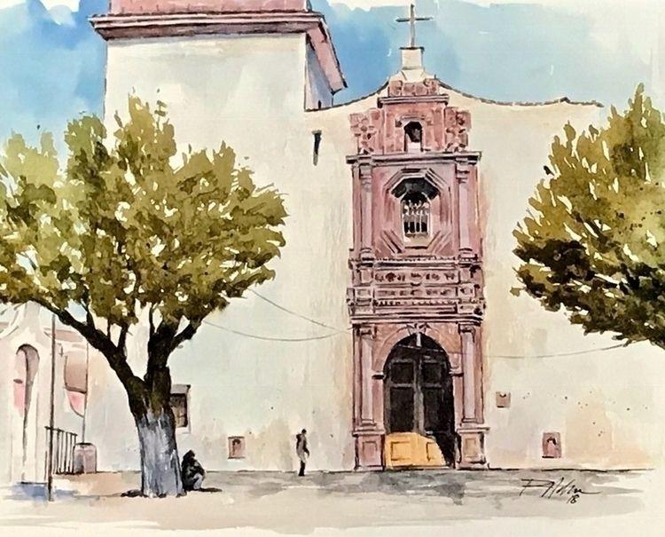 la Iglesia Catolica - Watercolor - rlnelsonmo | ello