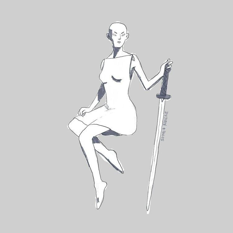 badass bald woman sword  - hashtags - sophiariviere | ello