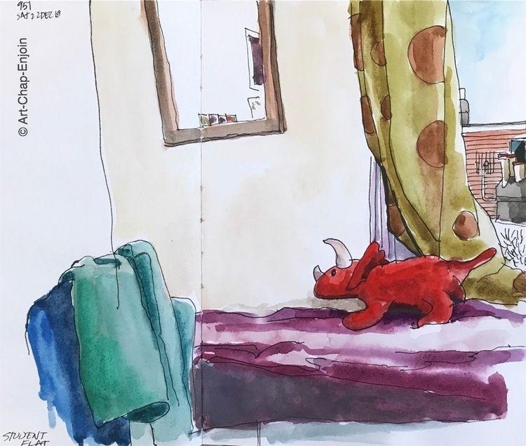951 - Student flat sketch morni - artchapenjoin | ello