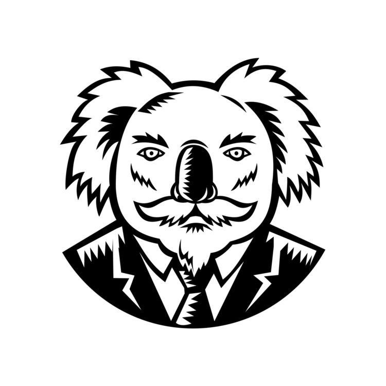Koala Moustache Woodcut Black W - patrimonio   ello