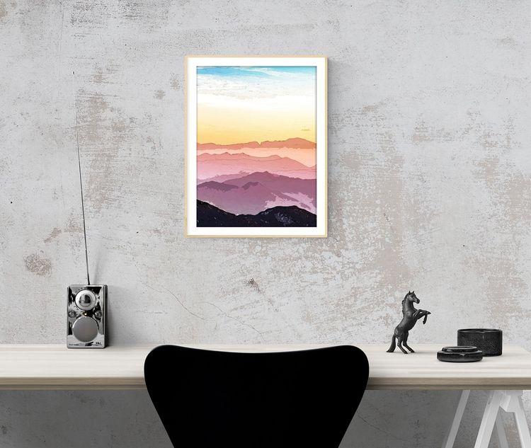 Mountain Waves Art Print Note i - creativeaxle | ello