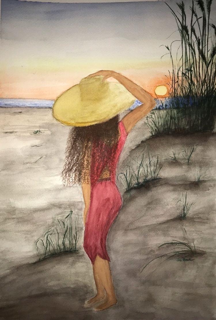 Sundown Anne Marie Island - watercolor - debbaxter   ello