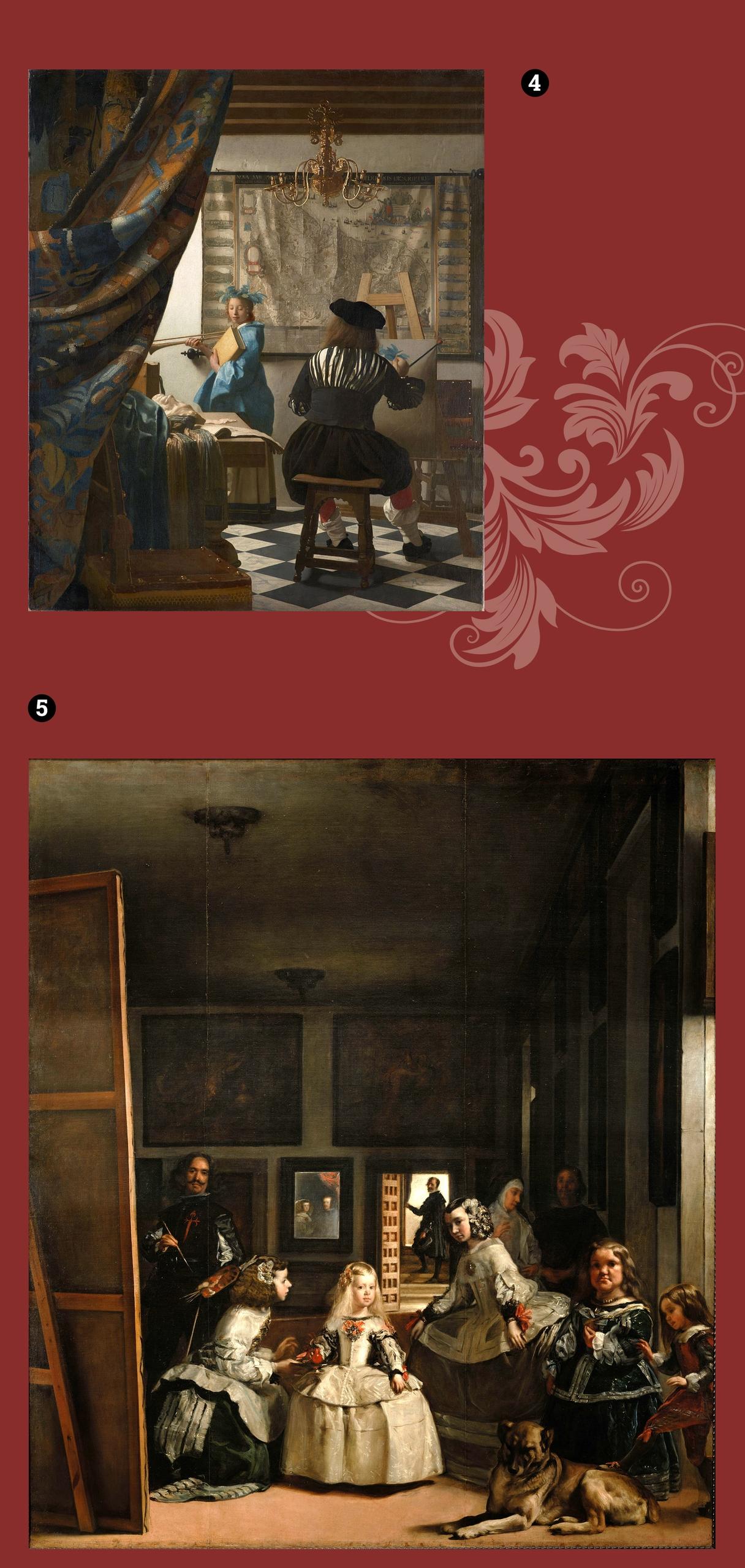 Obraz przedstawia dwa obrazy znanych artystów na bordowym tle.