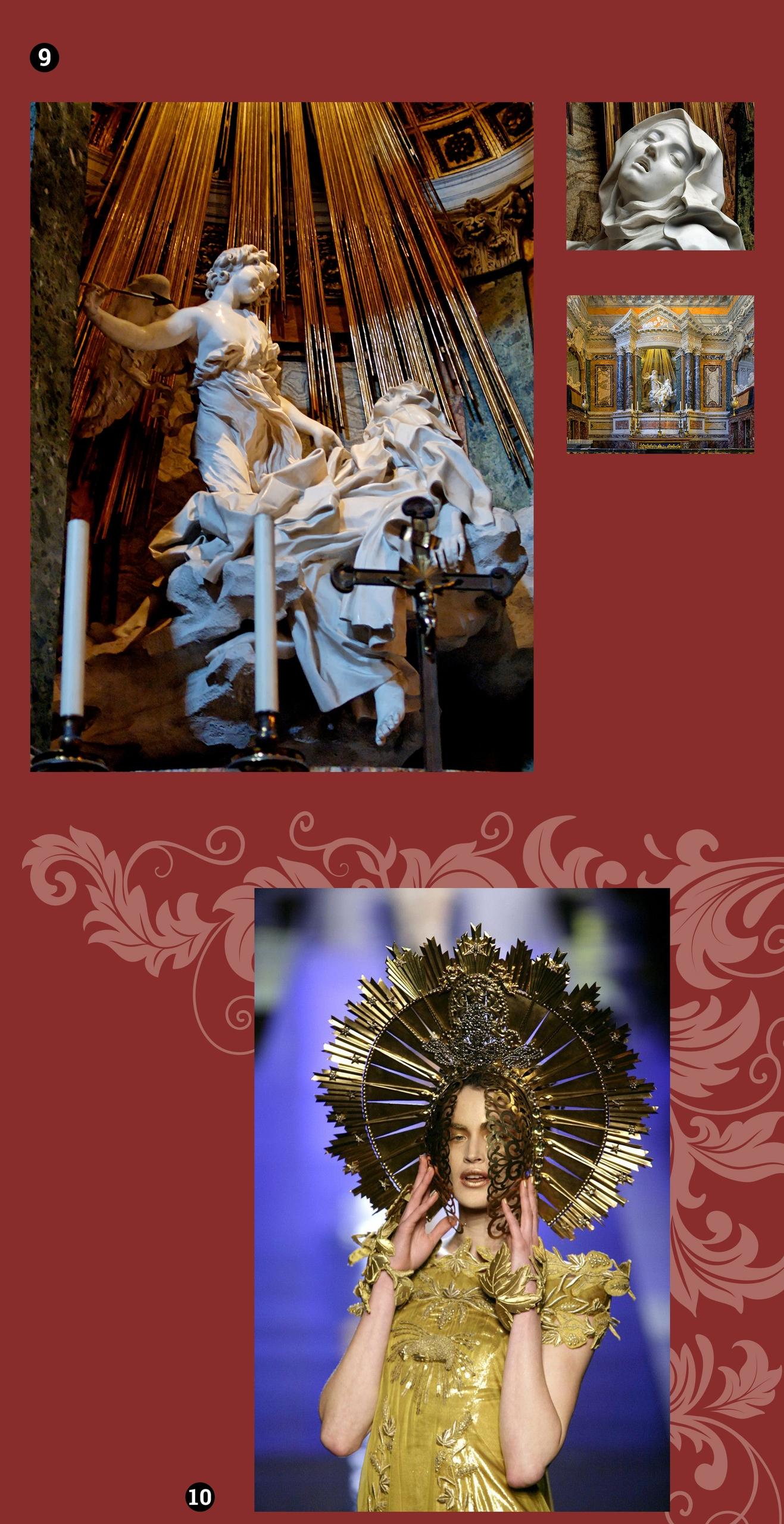 Obraz przedstawia cztery fotografie. Dwie z nich przedstawiają barokową rzeźbę we wnętrzu, jedna jest zdjęciem modelki w złotym nakryciu głowy.