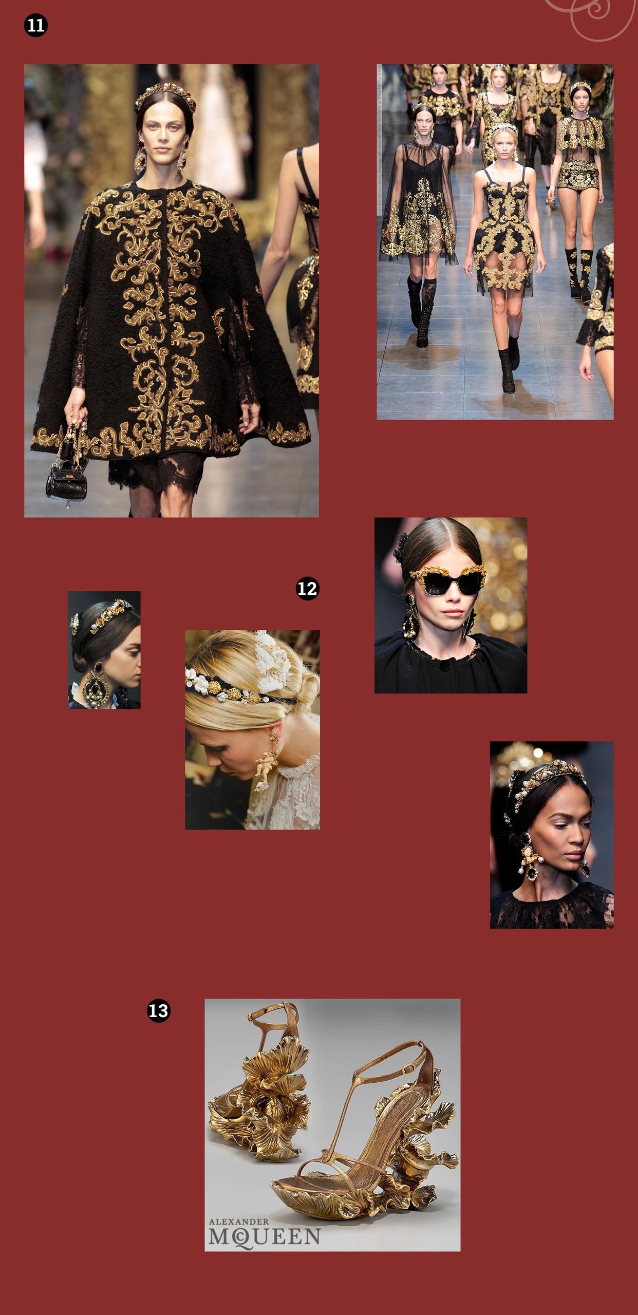 Obraz przedstawia siedem fotografii. Widzimy modelki w czarno-złotych strojach, oraz złote buty na obcasie. Całość na bordowym tle.