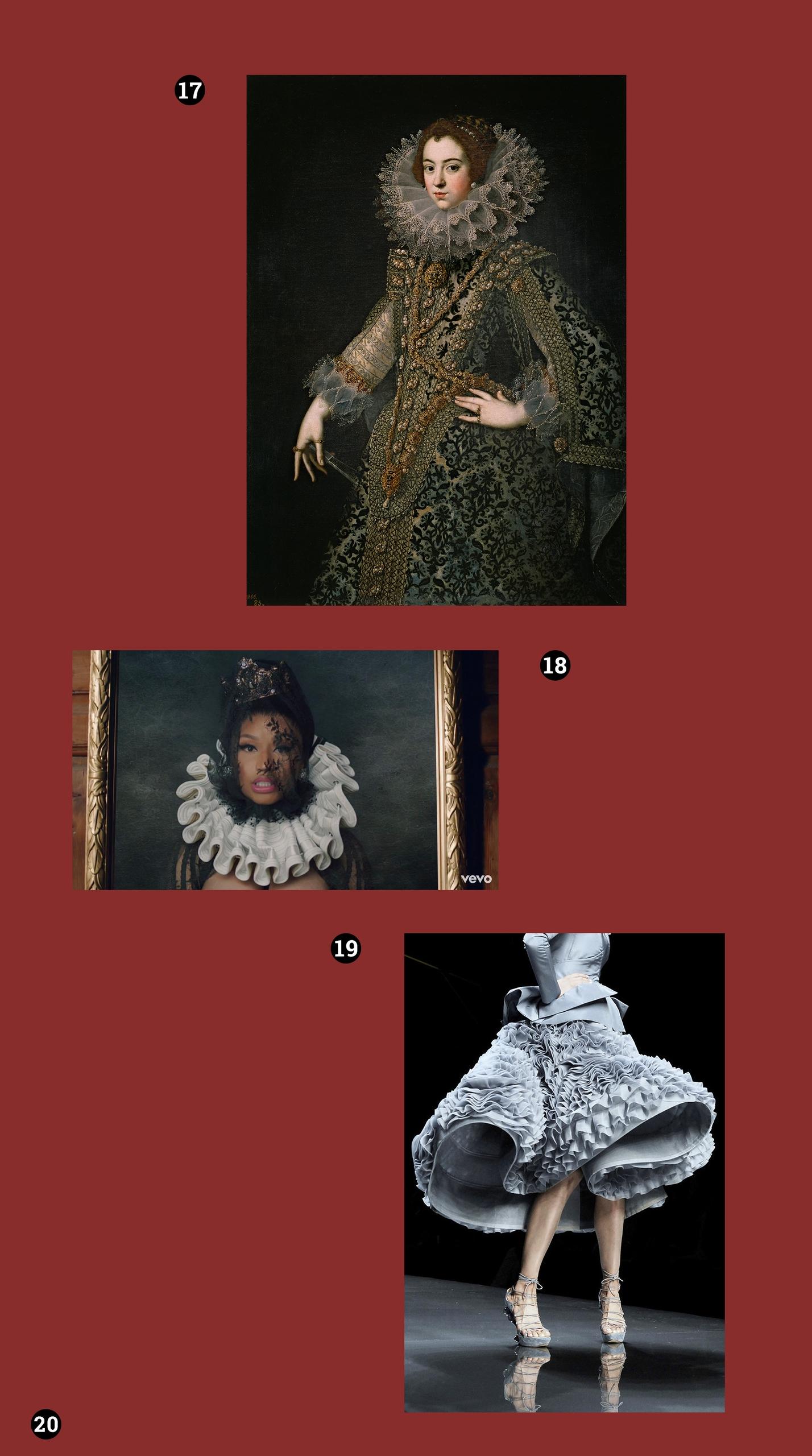 Obraz przedstawia trzy zdjęcia. Na jednym z nich widzimy portret królowej w bogato zdobionej sukni, na kolejnym kadr filmu a na ostatnim fragment postaci w szarej sukience.
