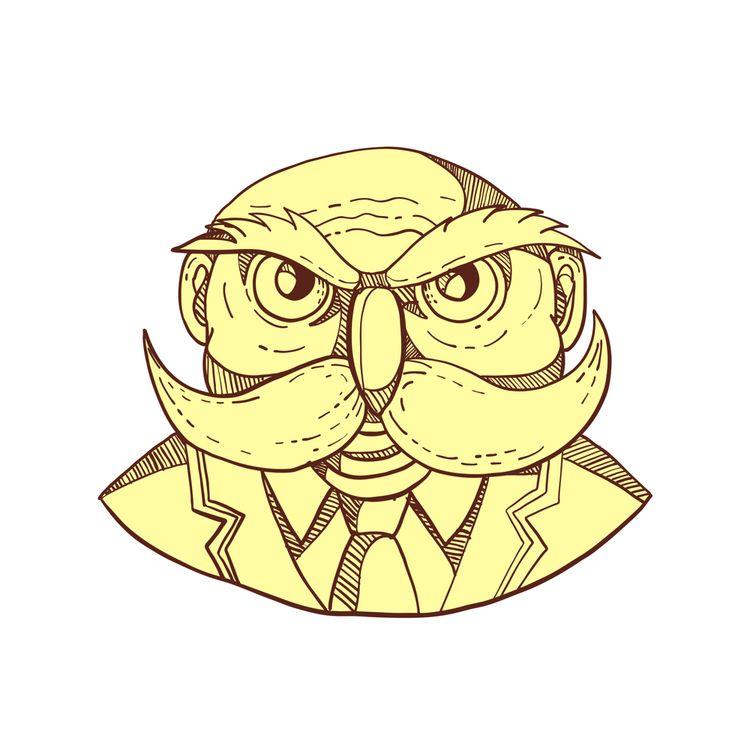 Angry Owl Man Mustache Doodle C - patrimonio | ello